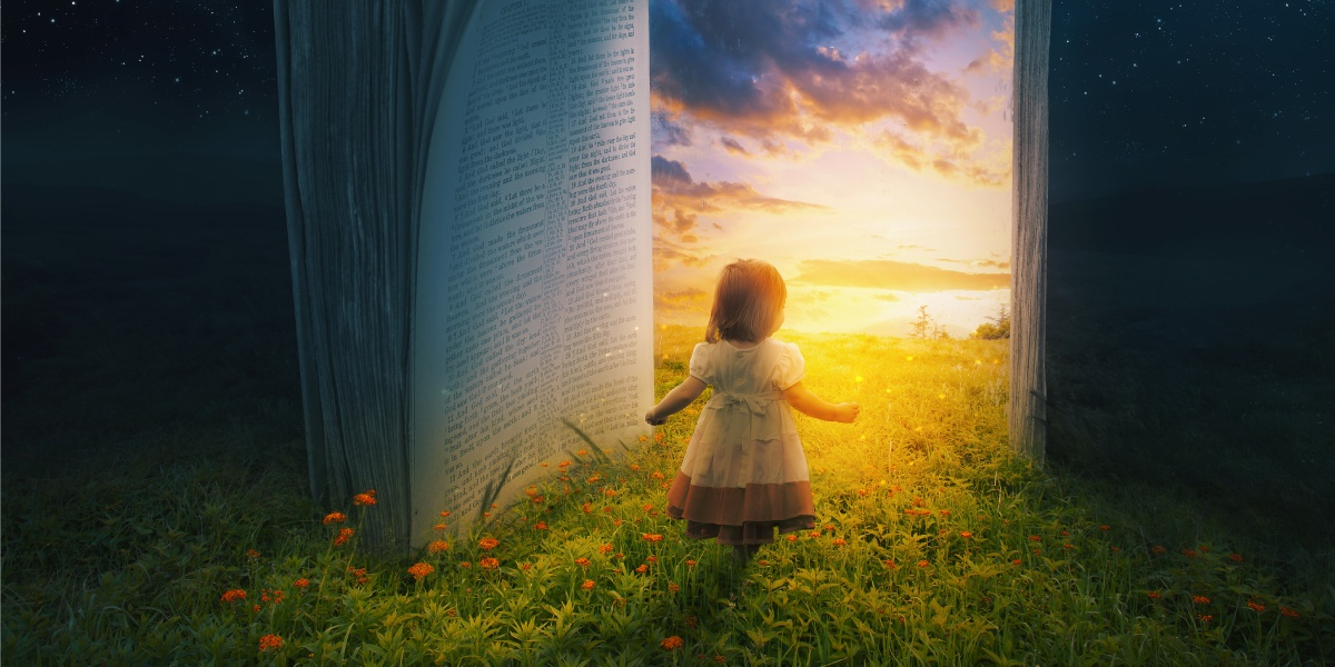 little girl walking through book into heaven